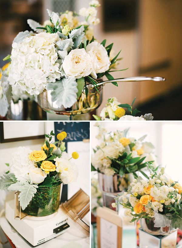 A Mint and Yellow Kitchen Themed Bridal Shower with colorblocked wooden utensils, a recipe for a happy marriage, small appliance floral centerpieces + mini desserts