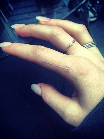 Small White Arrow Tattoo on Index Finger