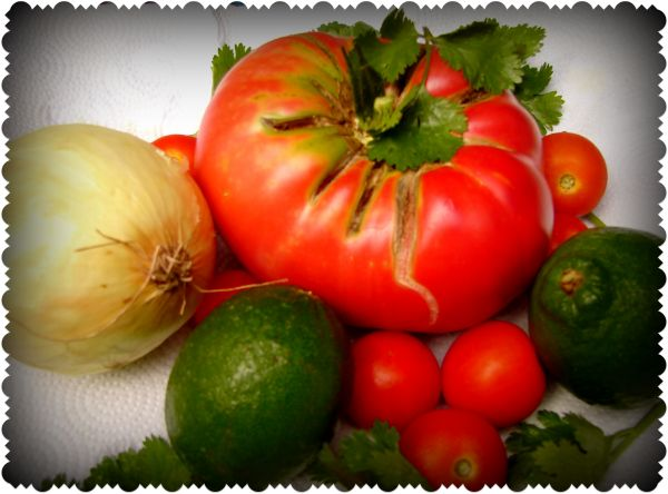 From our garden - ingredients for homemade salsa