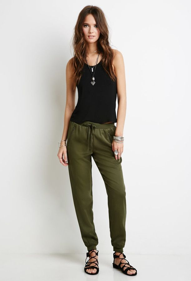 FOREVER 21 Zippered Drawstring Joggers