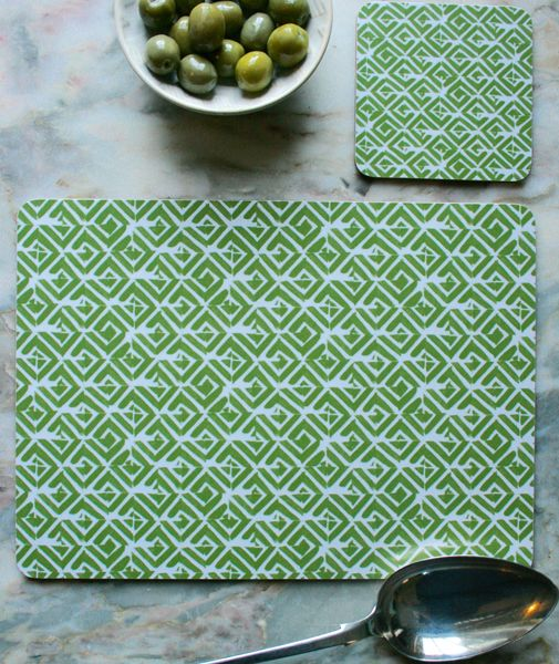 """""""Frieze"""" Design Placemats (4 for £25) & Coasters (4 for £12). The ideal accessory to bring colour and pattern to your kitchen or dining table.  Made in England, this set of 4 heat resistant, melamine mats feature original The Humble Cut potato printed artwork.  Heat resistant to 145ºC, wipe clean with a cork back. #geometric #placemats #coasters"""