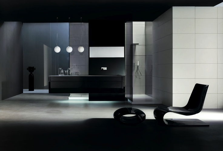 KUBIK 57 - Composition lacquered L68 Nero glossy brushed, recessed handle Nero glossy, Corian top mod. Next 90. Milltek shower trays mod. Line. Bracket for cantilever composition panelled and lacquered L68 Nero glossy brushed and mirrors.