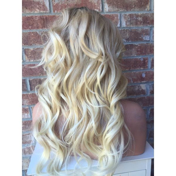 """Christina Champagne Blonde Rooted Human Hair Blend Lace Wig 18"""" ($115) ❤ liked on Polyvore featuring beauty products, haircare, hair styling tools, hair and hairstyles"""