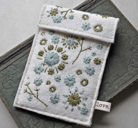 Hand Embroidered Wool Felt Ipod Touch Case Ivory by lovemaude
