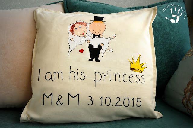 Ręcznie malowana poduszka na prezent na ślub dla pani młodej  #handmade #handpainted #princess #iamhisprincess #newlywedds #młodapara #ślub #prezent #gift #ręczniemalowane #pomysły #inspiracje #ideas #wedding