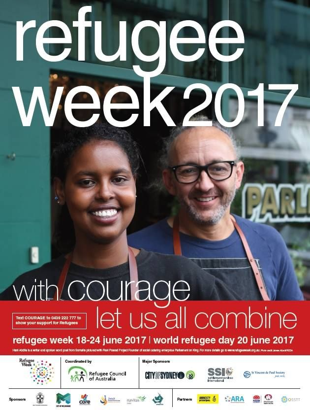 Refugee Week 2017 starts Sunday 18 June to Saturday 24 June 2017. Refugee Week is Australia's peak annual activity to raise awareness about the issues affecting refugees and celebrate the positive contributions made by refugees to Australian society.   Celebrated since 1986, Refugee Week coincides with World Refugee Day (20 June). In 2017, Refugee Week will be held from 18 June to 24 June.