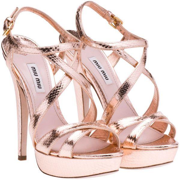 Miu Miu Sandals found on Polyvore: Shoes, Miumiu, Summer Collection, Colors, Spring Summer, Miu Sandals, Miu Miu, Platform Sandals, Rose Gold