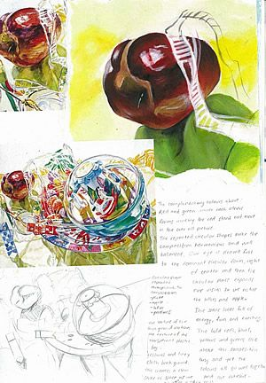This A Level Art sketchbook page shows an investigation into the artwork of Janet Fish by A2 Painting student Nikau Hindin