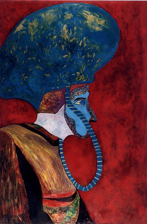 A journey in the ancient Carnival of Venice, 1984, oil, enamel on canvas, 150x100 cm