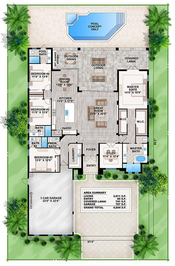 This 1 story Coastal Contemporary house plan features 4 bedrooms, 4.5 baths and a 3 car side entry garage. Other amenities include a great room, island kitchen with eating bar, laundry, study, private master suite and rear covered lanai with out door kitchen. Crestview Shores II is designed with a slab foundation, CMU block with