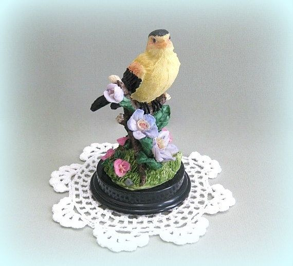 Yellow Bird Decor Decorative Bird Accent Bird by afloralaffair