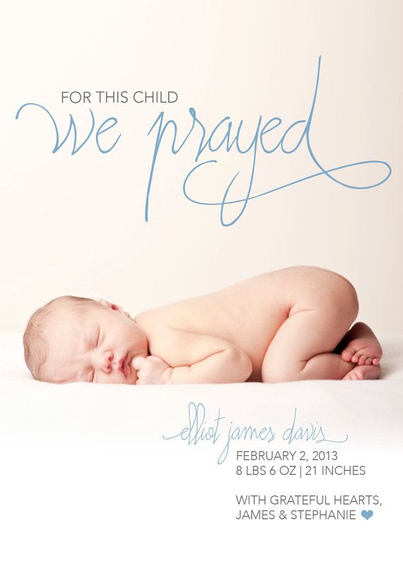 For This Child We Prayed Birth Announcement by PoppyDesignsShop, $12.00