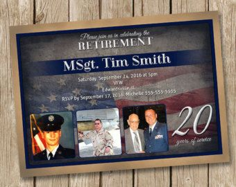 This listing is for a 5x7 high resolution digital Vintage Military Retirement Party Invitation. Colors and/or text can be changed. Price is $12 and includes color and text changes, plus revisions.  The 5x7 size has a 0.125 bleed on all sides. Please let me know if this needs to be removed or changed for a specific printer. I provide the proof and final to you via email. You may print this at home, email or send off to another location to be printed. ♥ ♥ QUICK TURNAROUND: Once an order has…