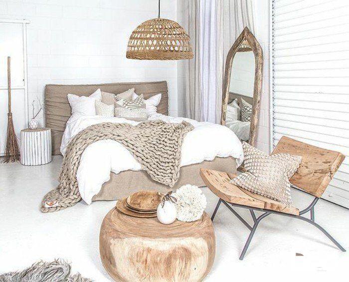 Zero Chambre A Coucher Design En Bois Brut Et Couverture Marron
