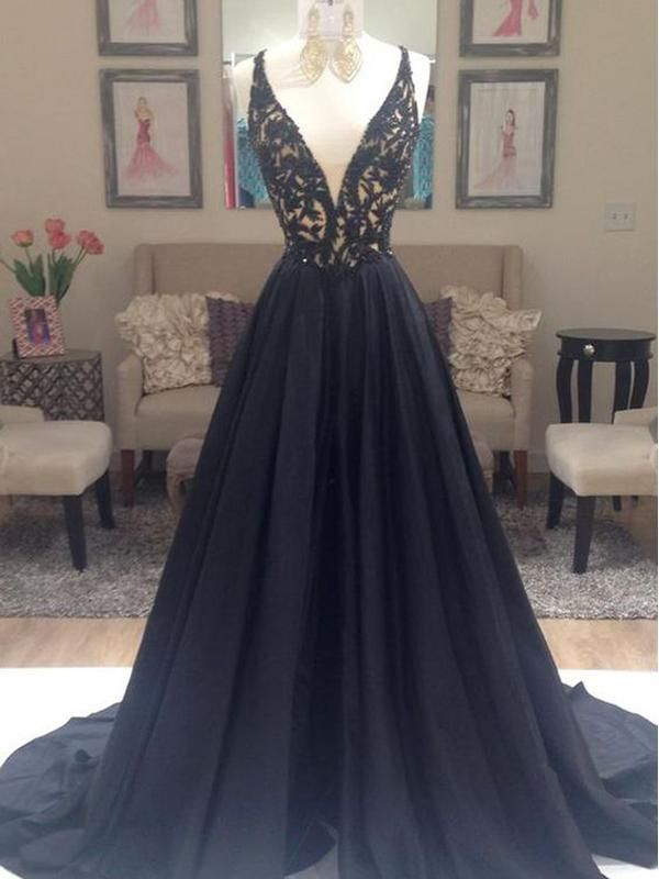 3bfcaeb2b Popular Deep V-neck A-line Elegant Ball Gown Evening Party Cocktail Prom  Dresses Online. The v-neck charming prom dress is fully lined