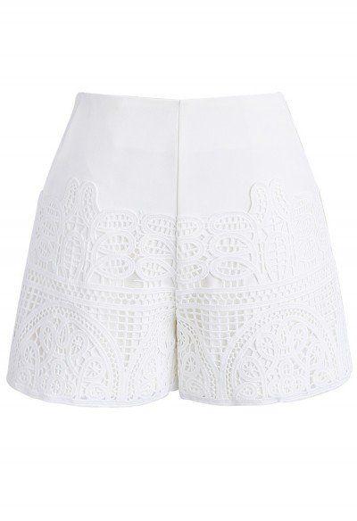 Crochet Feast Shorts in White