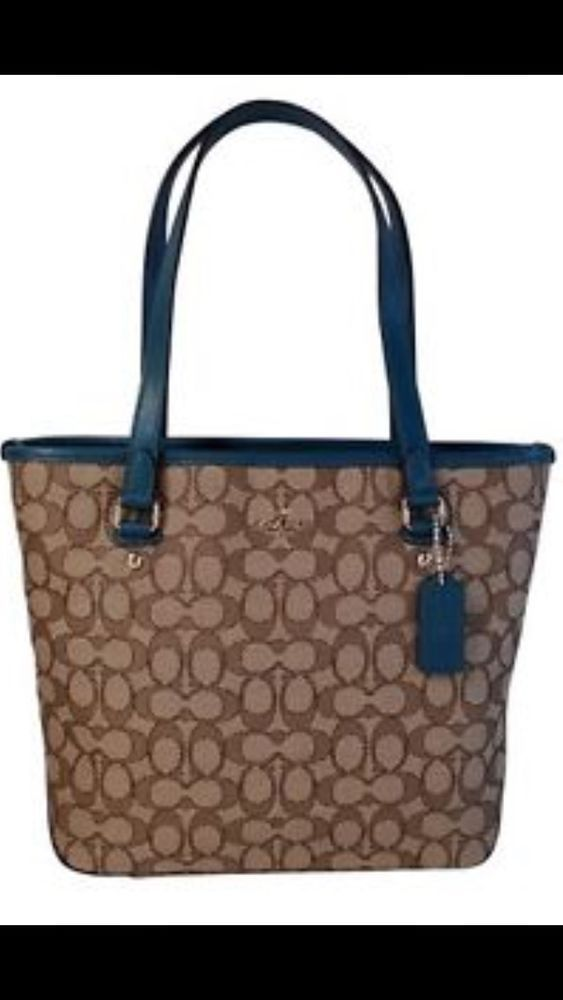 Coach Luxurious Outline Sig Zip Top Brown Teal Trimmed