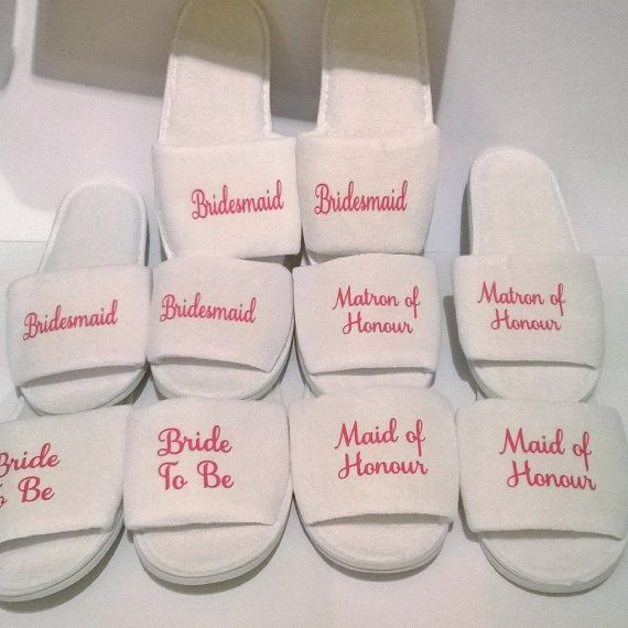Personalised Wedding slippers bridal party by DragonflyPersDesigns