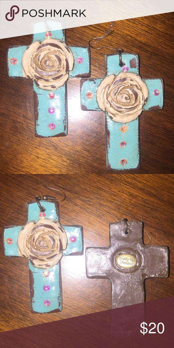 Giddy Up Glamour clay cross earrings Like Sookie Sookie,  clay cross earrings in teal Giddy Up Glamour Jewelry Earrings