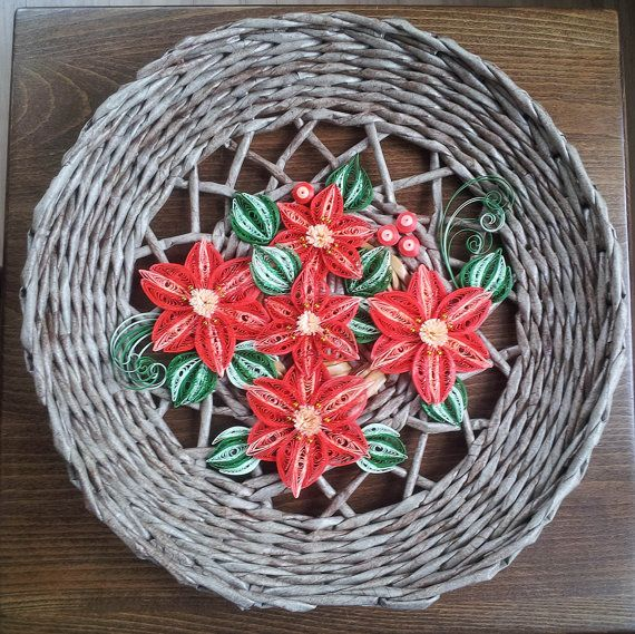 $39 Christmas round brown rustic wicker door or wall hanging with red glitter poinsettia. Handmade. Home decor Shabby chic