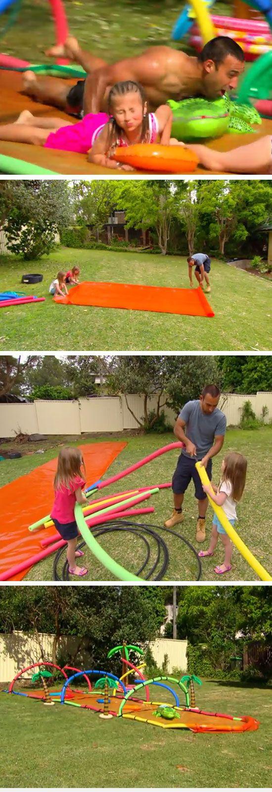 DIY Water Slide   16 DIY Summer Activities for Kids Outside   Fun Summer Ideas for Kids Outside Games