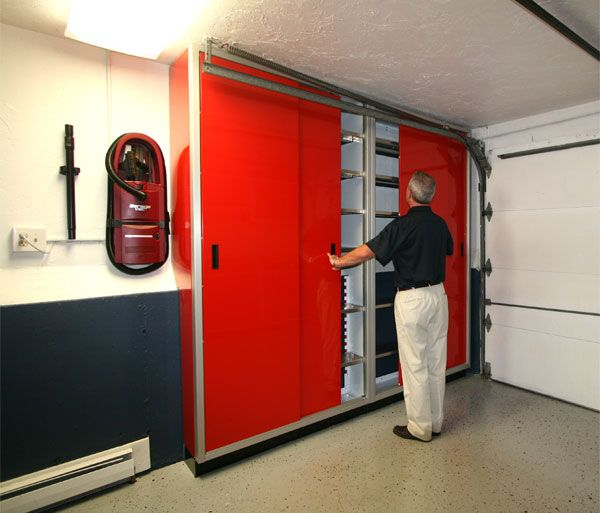 Red Space SaverTM Sliding Door Garage Storage Cabinets