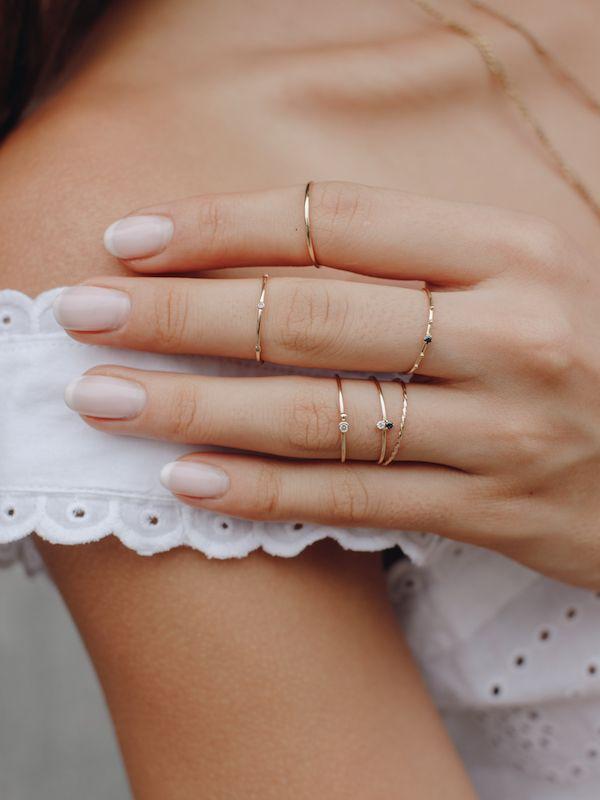 Black Sapphire Bead Ring