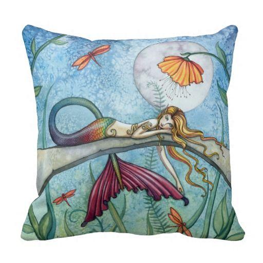 Colorful Mermaid Throw Pillow