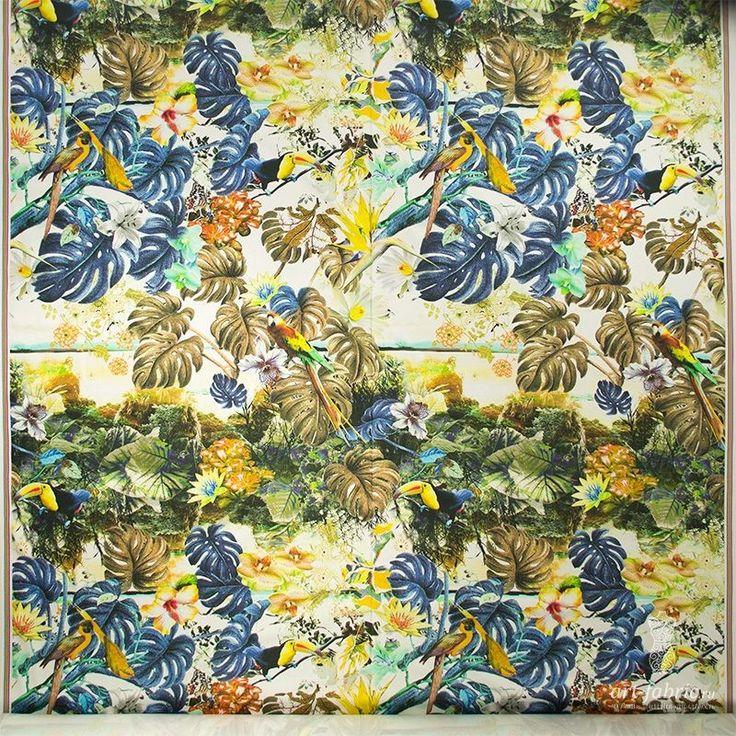 Сатин-стрейч, купон (тропические птицы) (004013) купить в интернет магазине итальянских тканей по цене 1280 р.
