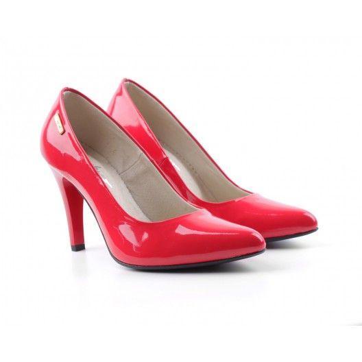 Dámske kožené lodičky červené DT236 - fashionday.eu