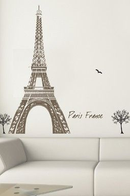 Eiffel Tower Wall Decal would be great on the read stair landing wall.