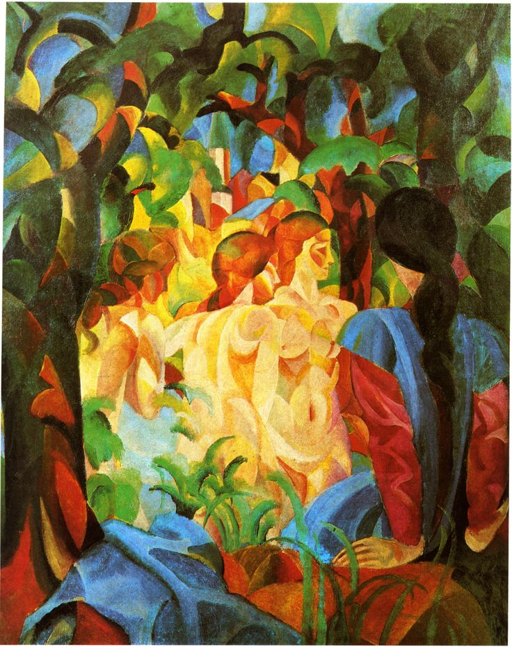 August Macke ~ Badende (Bathing Girls with the Town in the Background), 1913
