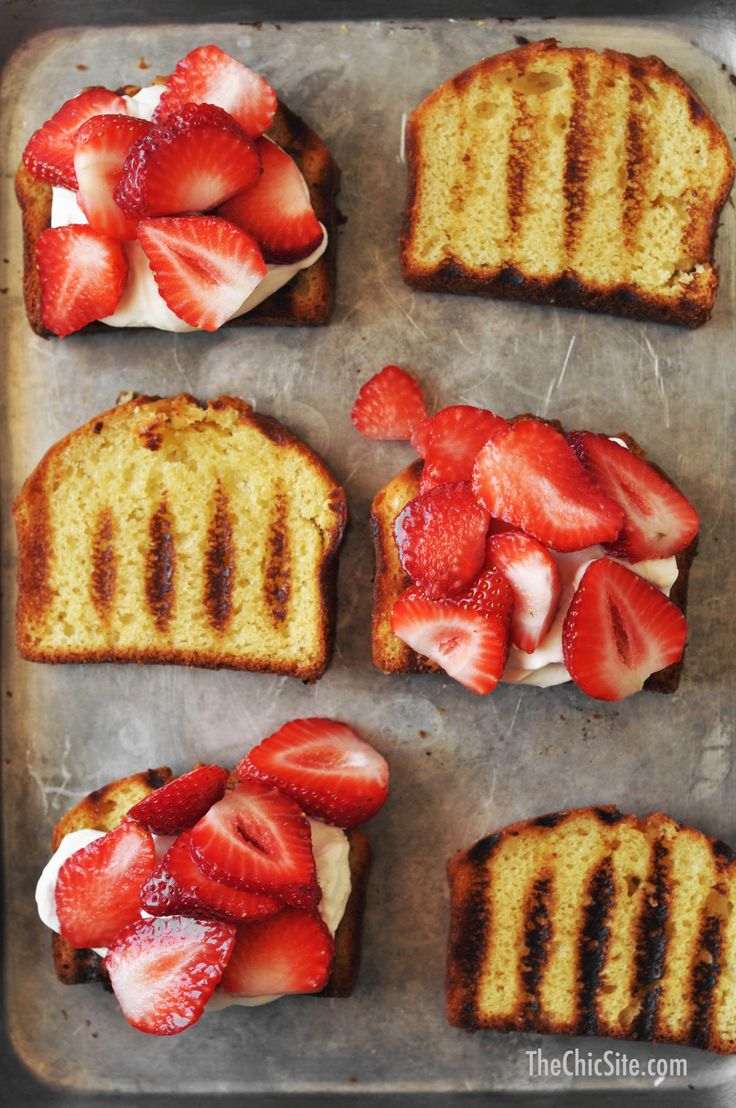 Summer Grilled Pound Cake ~ Its so easy to make dessert for a crowd with this Grilled Pound Cake topped with fresh whipped cream and fresh strawberries