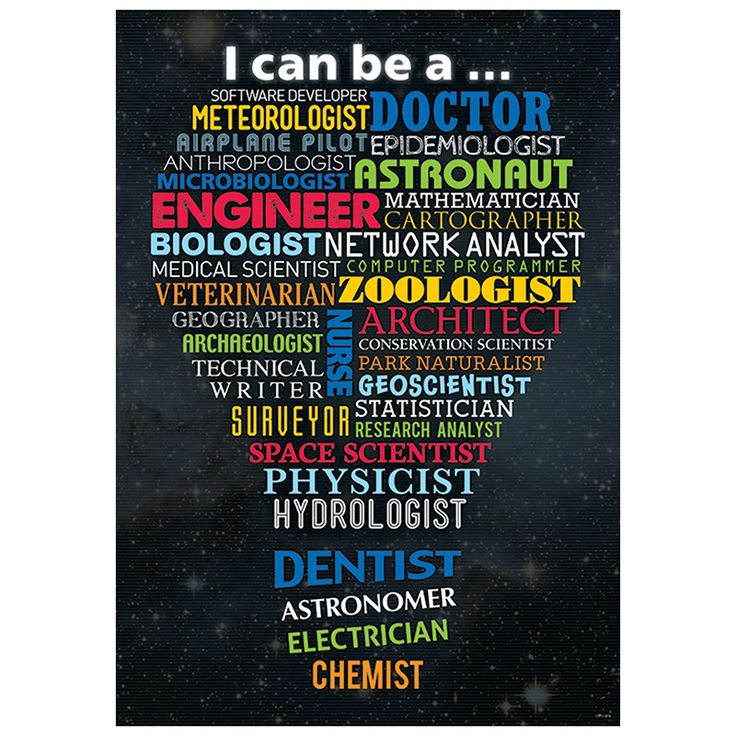 """I can be a..."" Through science, technology and math, many careers are possible. Here are just a few: software developer, doctor, meteorologist, astronaut, dentist, architect, veterinarian, airplane p"