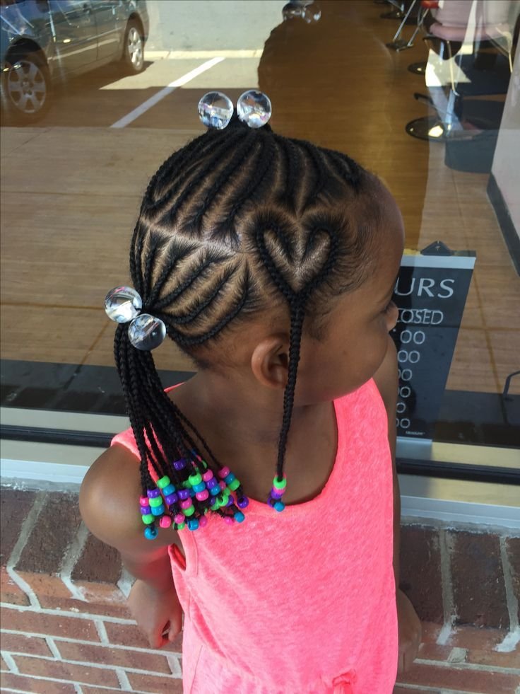 Cornrows With Heart Design Toddler Braided Hairstyles Kids