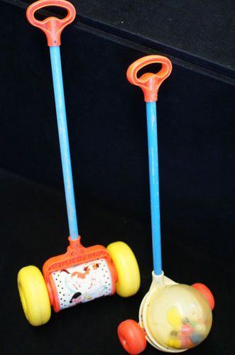 2 Vintage Fisher Price Toys 1960s 757 Melody Chime 788 Corn Popper Push.   I still remember the pop, pop, pop as l walked the toy through the house