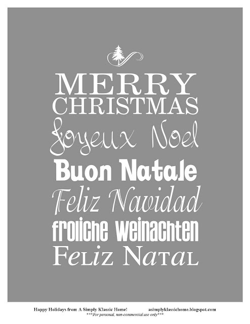 Merry Christmas in English, French, Italian, Spanish, Portuguese and German!