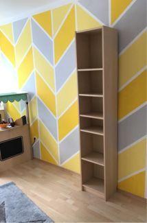 Wandgestaltung Farbe Grau Gelb Muster Wandfarbe