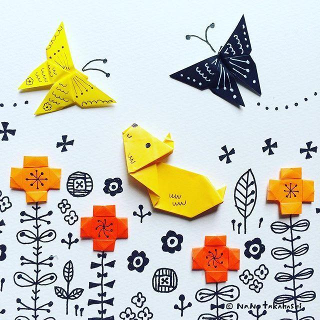黄アゲハと黒アゲハとワン Swallowtail butterfly and pappy. #yellow #black #swallowtailbutterfly #puppy #origami  #papercraft  #garden  #paperflower #illustration  #nanatakahashi  #おりがみ #こいぬ #ちょうちょ  #あげはちょう #イラスト #ペーパークラフト #はな  #折り紙 #おりがみおてがみ #いぬ #たかはしなな