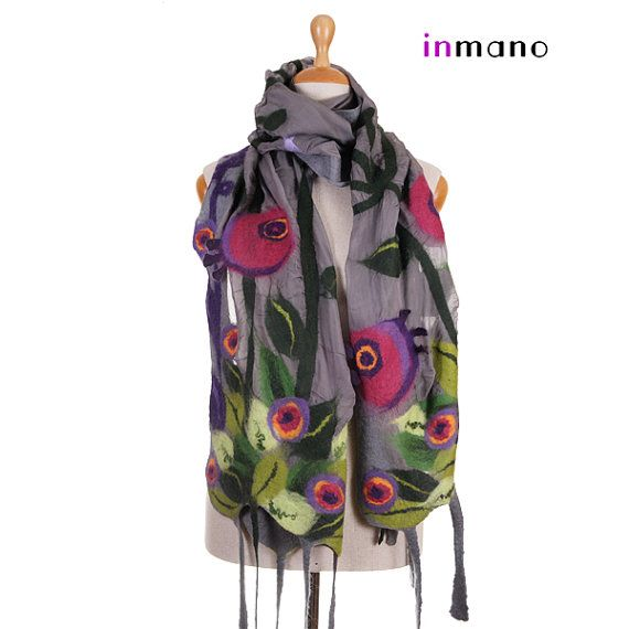 grey nuno felted scarf spring meadow II fairy multicolor by inmano