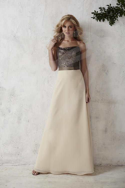 Jacquelin Bridals Canada - 22666 - Bridesmaids - This gown presents a classic chiffon A-line with beautifully sequined top held by thin speghetti straps. The waist is endowed with a simple waistband and emboldened with a fetching brooch. Pictured in: Charcoal/Champagne/Charcoal