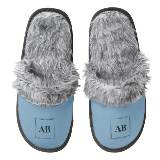 Air force blue solid color with monogram pair of fuzzy slippers