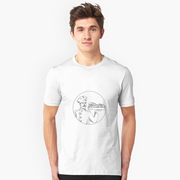 """""""Baker Holding Bread on Plate Doodle Art"""" Unisex T-Shirt by patrimonio   Redbubble  #baker #pastrychef #tshirt"""