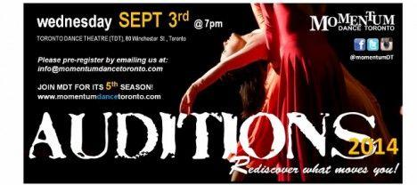 » Momentum Dance Toronto: 2014 Company Auditions September 3