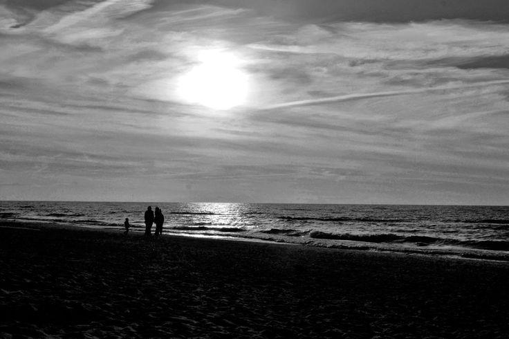 Beach, sea, seashore, shore, sunset, black and white, dark, zachód slońca, morze, plaża, noc, cemność