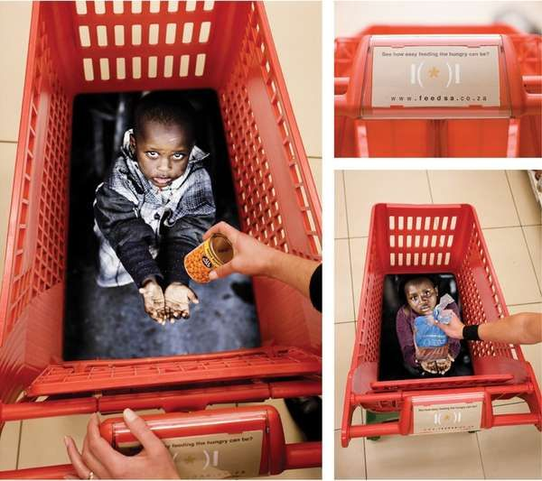 This is a piece of guerilla advertising for a feed the children charity. I think that is very effective as it looks incredibly realistic and makes the audience think about charities as they are doing their shopping, which they most probably wouldnt otherwise.
