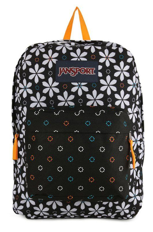 Superbreak Backpack by Jansport with flowery print. Made of 600 polyester material. Two main compartments. One main compartment, front pocket, top carry handle, front pocket, zipper closure, adjustable strap, perfect for a short holiday backpack or for school backpack.  http://www.zocko.com/z/JIG1S