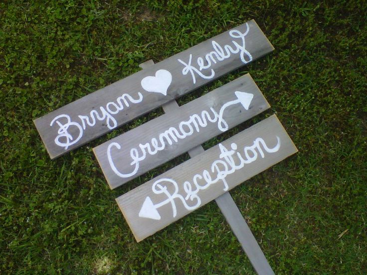 Wedding Sign Script Font Outdoor Decorations Cursive Hand Painted Wood Directional Arrow Wooden Reception Signs Ceremony