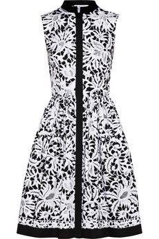 I live the simplicity of this look. Oscar de la Renta Printed stretch-cotton shirt dress | NET-A-PORTER