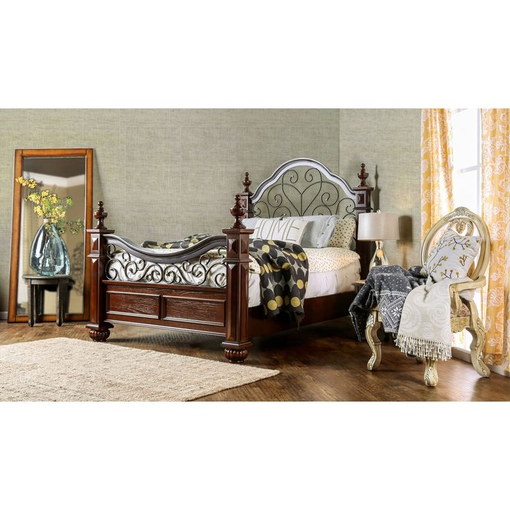 Sophisticated and grand in every way, this open bed features four posts with beautiful carvings and an expansive arching…